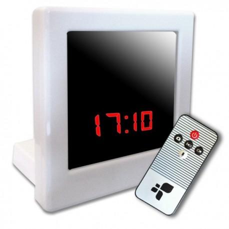 Réveil blanc caméra espion intégrée télécommandé